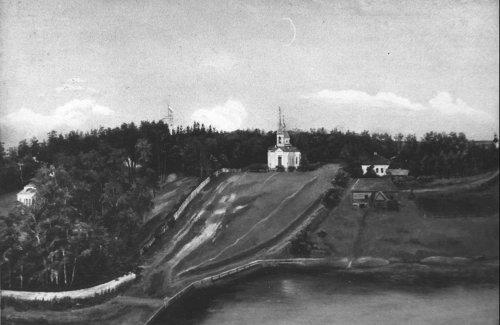 Вид на Троицкую церковь и усадьбу Гостилицы. Фото начала XIX в.