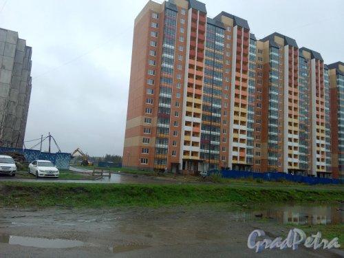 Всеволожск, микрорайон Южный, ЖК «Радужный», 6 квартал, 6 корпус. Демонтируют ограждения вокруг корпуса. Фото 12 октября 2020 года.