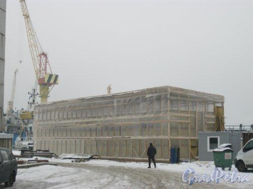 Канонерский остров, дом 41, литера Ж. Строящееся здание. Фото 23 января 2015 г.