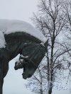 Памятник Александру III. Во дворе Мраморного Дворца зимой. Фрагмент. Фото  январь 2011 г.