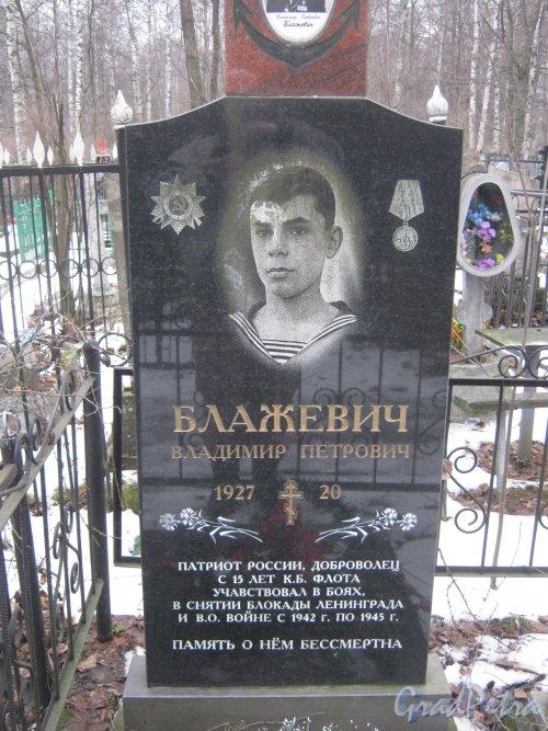 Богословское кладбище. Могила В.П. Блажевич. Фото февраль 2014 г.