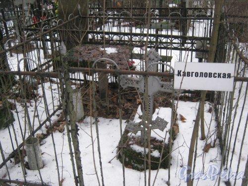 Богословское кладбище. Одно из безымянных захоронений Кавголовской аллеи. Фото февраль 2014 г.