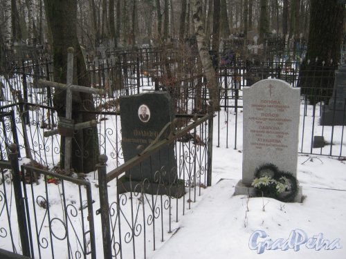 Богословское кладбище. Захоронение Мельниковой-Полюдова и Поповых, Павлова, Атнашевой. Фото февраль 2014 г.