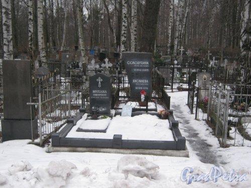 Захоронение Т.Н. Солодухиной и В.Р. Яковлевой на Богословском кладбище. Фото февраль 2014 г.