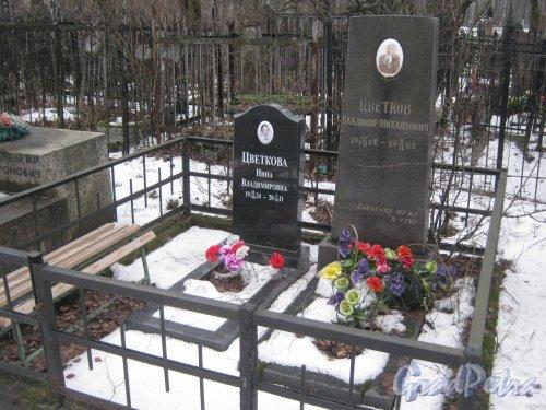 Захоронение В.М. и Н.В. Цветковых на Богословском кладбище. Фото февраль 2014 г.