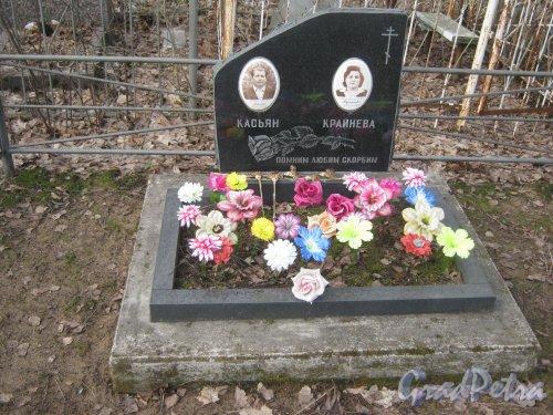 г. Ломоносов, Мартышкинское кладбище. Захоронение Н.М. Крайневой-Ф.П. Касьяна. Фото 7 марта 2014 г.