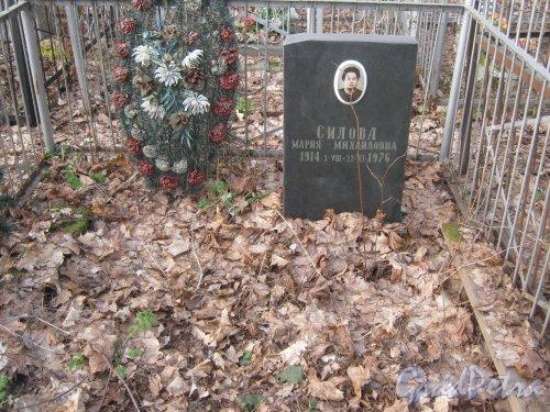 г. Ломоносов, Мартышкинское кладбище. Могила М.М. Силовой. Фото 7 марта 2014 г.