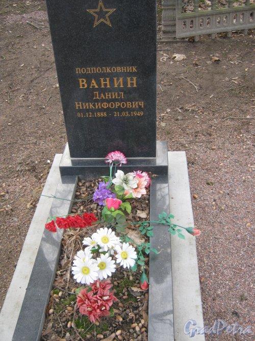 Захоронение Д.Н. Ванина на Мартышкинском братском захоронение в городе Ломоносов. Фото 7 марта 2014 г.