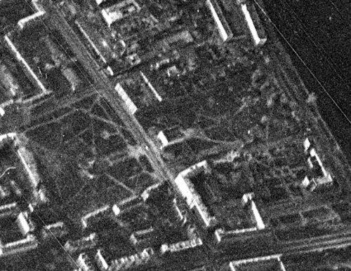 Благоустроенная территория Спасо-Переображенского (Фарфоровского) кладбища на аэроФотосъемке 1966 года.