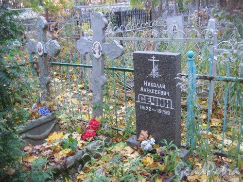 Г. Ломоносов, Мартышкинское кладбище. Захоронение Н.А. Сечина. Фото 16 октября 2014 г.