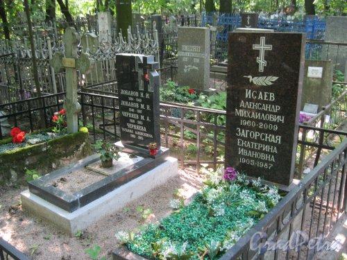 Красненькое кладбище. Захоронение Н.И. и М.Н. Лобановых, М.А. и Т.А. Черняевых, А.М. Исаева, Е.И. Загорской. Фото 6 августа 2015 г.