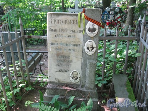 Красненькое кладбище. Захоронение семьи Григорьевых. Фото 6 августа 2015 г.