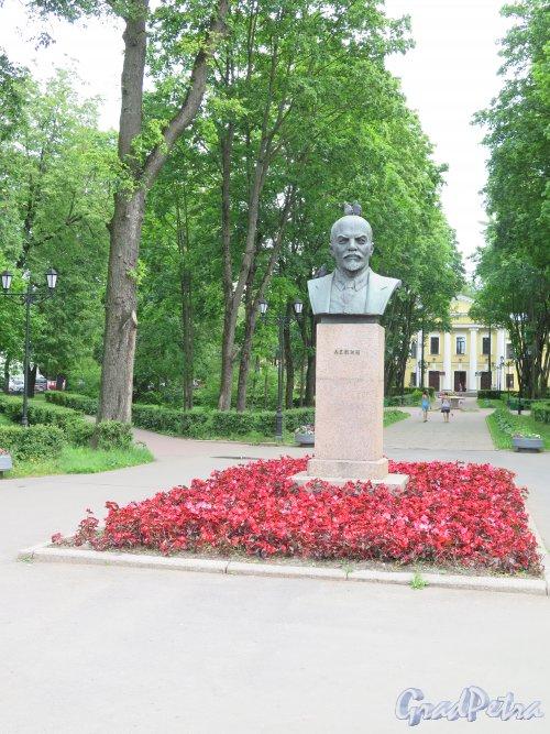Памятник-бюст В.И. Ленину в Гатчине, 1959, ск. В.И. Ингал. Адрес: Гатчина, Пр. 25 Октября. Сквер. Общий вид. Фото июнь 2015 г.