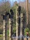 парк Сосновка. Площадка Чансын. Скульптурные изображения древних корейских духов. Фото 26 марта 2014 года.