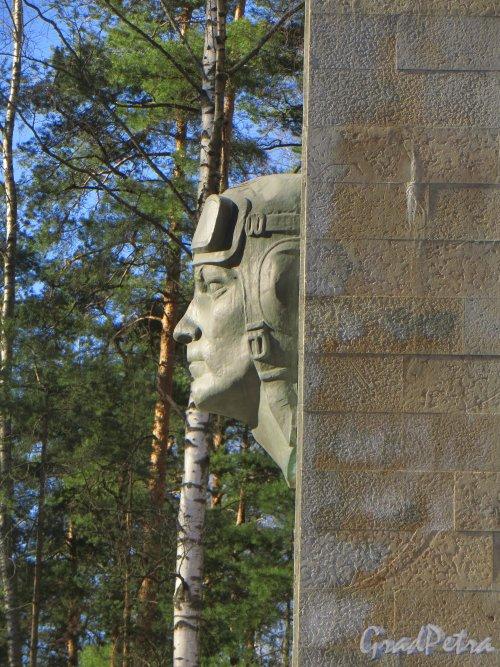Парк Сосновка. Мемориальный комплекс в память о военном аэродроме «Сосновка». Барельеф летчика. Профиль. Фото 26 марта 2014 года.