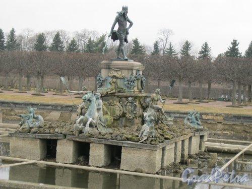 г. Петергоф, Верхний сад (парк). Фонтан «Нептун». Фото 27 марта 2014 г.