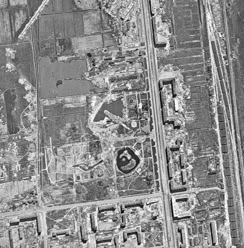 Сызранское поле и Кирпичный завод. Территория будущего Московского парка Победы. Немецкая аэроФотосъемка 1940-х годов.