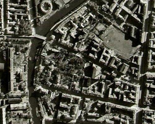 Участок Алексеевского сада на немецкой аэроФотосъмке. 1940-е годы.
