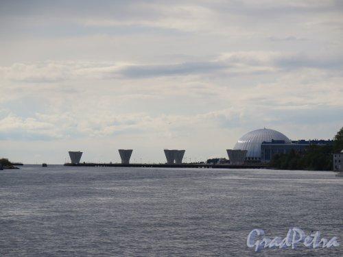 Вид на строительство Западного скоростного диаметра (ЗСД) в районе Крестовского острова из Центрального парка культуры и отдыха (ЦПКиО). фото август 2014 г.