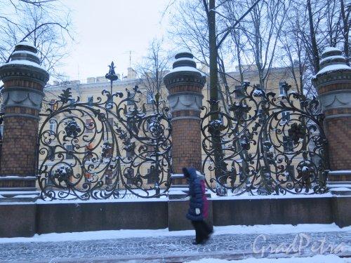 Михайловский сад. Решетка сада со стороны канала Грибоедова зимой в вечернем освещении. фото январь 2015 г.