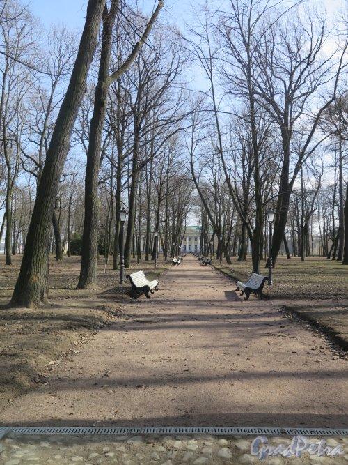 Парк Каменноостровского дворца. Центральная Аллея с видом на Дворец. фото март 2016 г.