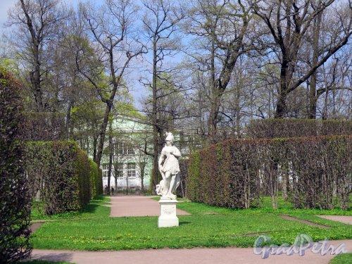 Екатерининский парк (Пушкин). Регулярный парк. Вид на скульптурную аллегорию «Патриотизм» (Amor de la Patria), 1730-е, ск. Антонио Тарсиа и Большую оранжерею. фото июнь 2017 г.