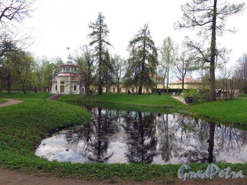 Екатерининский парк (Пушкин). Вид Продольного пруда и Китайской Деревни. фото июнь 2017 г.