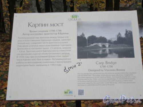 Гатчинский парк (Дворцовый). Карпин мост. Описание. фото октябрь 2017 г.