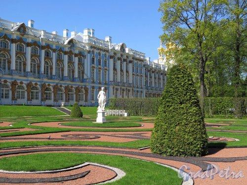 Екатерининский парк (Пушкин). Партер со статуей «Мир». Общий вид. фото май 2018 г.