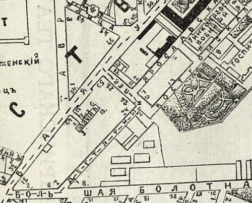 Дегтярный переулок. Фрагмент карты «План Литейной и Рождественской части» 1894 года.