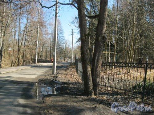 г. Зеленогорск, Парковый пер. Вид от Клубного пер. в сторону дома 541 по Приморскому шоссе. Фото 7 апреля 2014 года.