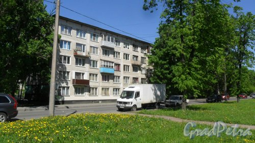 Альпийский переулок, дом 12. 5-этажный жилой дом серии 1-ЛГ-502-6 1965 года постройки. 6 парадных, 90 квартир. Фото 21 мая 2018 года.