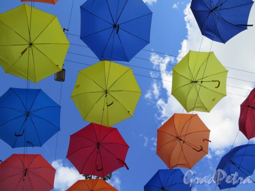 Соляной пер. Аллея парящих зонтиков. Вид снизу. фото май 2016 г.