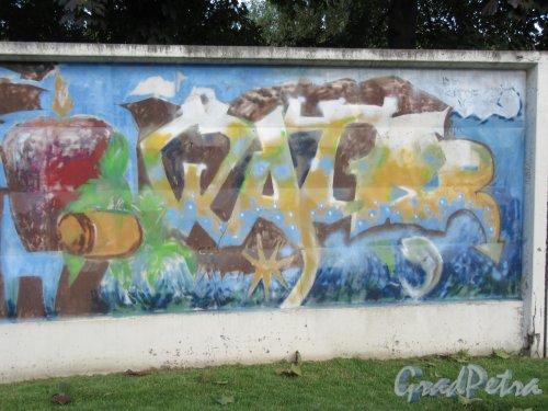 Таврический пер., д. 2-10. Граффити на тему «Вода- источник жизни». Панно 3. фото сентябрь 2017 г.