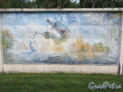 Таврический пер., д. 2-10. Граффити на тему «Вода- источник жизни». Панно 9. фото сентябрь 2017 г.