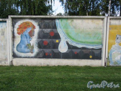 Таврический пер., д. 2-10. Граффити на тему «Вода- источник жизни». Панно 13. фото сентябрь 2017 г.