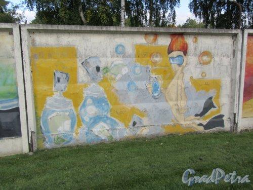 Таврический пер., д. 2-10. Граффити на тему «Вода- источник жизни». Панно 14. фото сентябрь 2017 г.