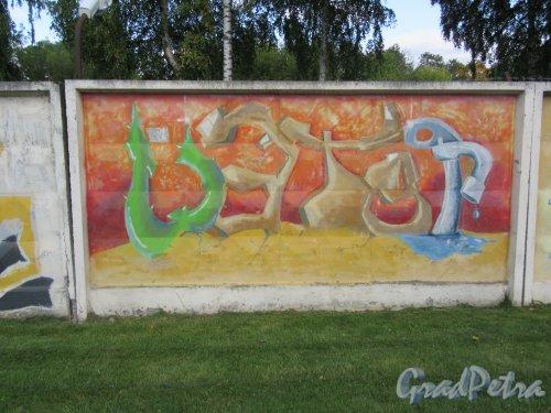 Таврический пер., д. 2-10. Граффити на тему «Вода- источник жизни». Панно 15. фото сентябрь 2017 г.