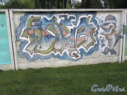 Таврический пер., д. 2-10. Граффити на тему «Вода- источник жизни». Панно 18. фото сентябрь 2017 г.