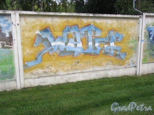 Таврический пер., д. 2-10. Граффити на тему «Вода- источник жизни». Панно 20. фото сентябрь 2017 г.
