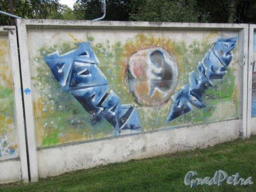 Таврический пер., д. 2-10. Граффити на тему «Вода- источник жизни». Панно 21. фото сентябрь 2017 г.
