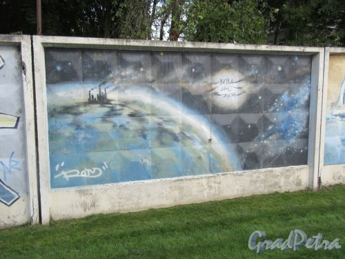Таврический пер., д. 2-10. Граффити на тему «Вода- источник жизни». Панно 28. фото сентябрь 2017 г.