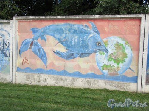 Таврический пер., д. 2-10. Граффити на тему «Вода- источник жизни». Панно 31. фото сентябрь 2017 г.