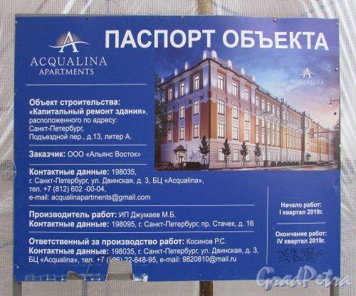 Подъездной переулок, дом 13. Паспорт реконструкции здания под Аппартаменты «Acqualina». Фото 5 ноября 2019 года.