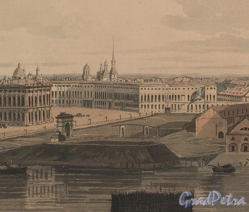 Фрагмент «Panoramic view of St. Petersburg, dedicated by permission to his Imperial Majesty Alexander 1st. by his much obliged humble servant J.A. Atkinson»