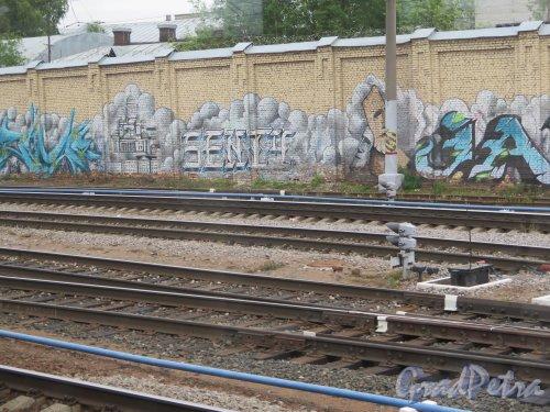 Пл. Ленина, д. 6. Финляндский Вокзал. Граффити на шумозащитной стенке. Эпизод 5. фото июнь 2015 г.