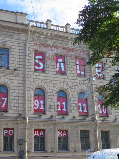 Исаакиевская пл., д. 3. Особняк К. Л. Миллера. Фрагмент фасада. фото июль 2016 г.