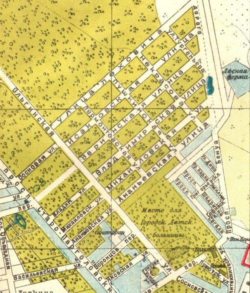 Район Сосновского парка. Вырезка карты Санкт-Петербурга 1925 года.
