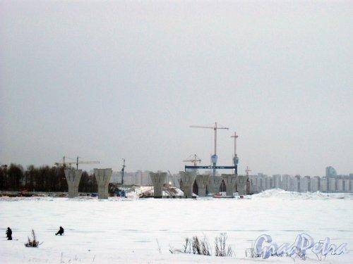 ЗСД. Вид со стороны ТРК PiterLand (Приморский пр., дом 72) на строительство . Фото 8 января 2015 г.
