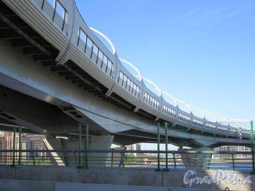 Западный скоростной диаметр. Вид с  Яхтенного моста. фото май 2018 г.
